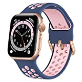 Marlova Compatible with Apple Watch Bands 40mm 38mm, Soft Silicone Breathable Air Hole Sport Wristbands with Classic Clasp for iWatch Series Se/6/5/4/3/2/1, Midnight Blue/Pink 38mm 40mm