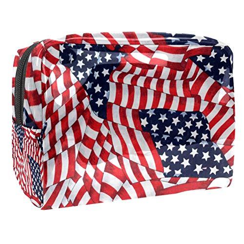 Kosmetiktasche & Schminktasche Amerikanische Flagge Make Up Tasche & Beautycase für Damen 18.5x7.5x13cm