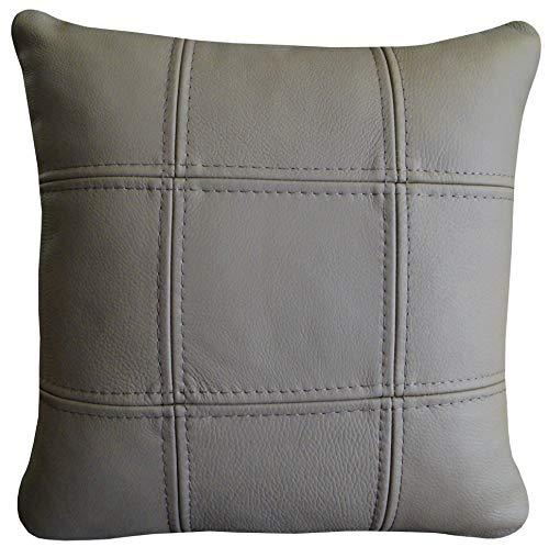 Quattro Meble Beige Mocca echt leer Toledo Mocca kussen Sofa & Stoel Decoratief kussen Kussen Echt Leer Kussen Real Leer Koeienhuid Model 18EL (40 x 40 cm)