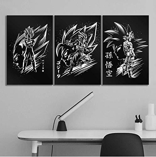 baiyinlongshop Cartel De Lienzo Decoración para El Hogar Imagen 3 Piezas Negro Blanco Dragon Ball Z Goku Vegeta Anime Impresión Pintura Arte De La Pared para El Dormitorio Sin Marco 50X70Cmx3Pcs