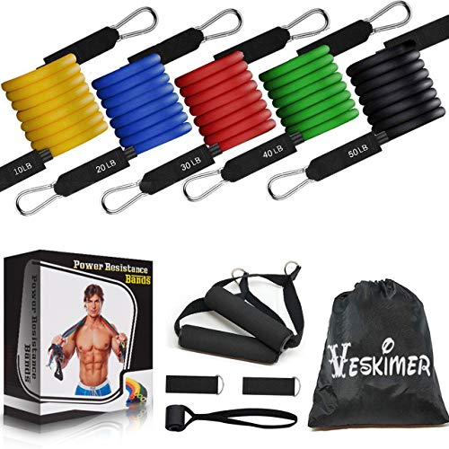 【2021 Upgraded】 150LB Resistance Bands Set with Handles, Ankle Straps, Door Anchor and Workout Guide - VESKIMER Exercise Bands for Men Women Resistance Training, Home Workout