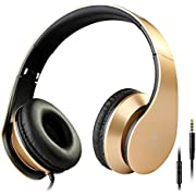 Intone I60 Lightweight Folding 3.5mm Stereo Over-ear Headphones Portable Stretch Headsets Earphones Leather Earpad with Build-in Microphone and Control Button for All Smartphones,laptops,tablets,pc,mp3/mp4,psp,ipod (Golden)