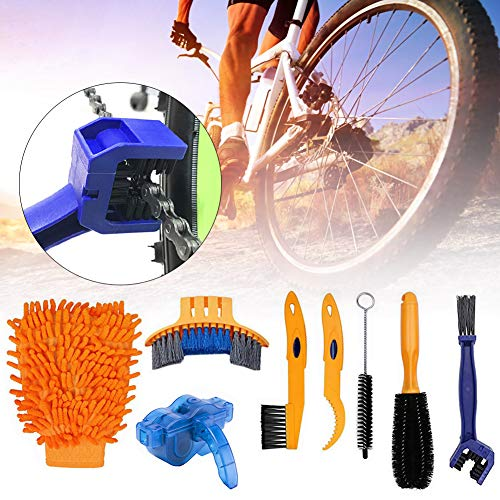 Bicycle Clean Brush Kit, 8 Pieces Bicycle Cleaning Brush Tool for Bike Chain/Crank/Tire/Sprocket Cycling Corner Stain Dirt Clean for Mountain Road