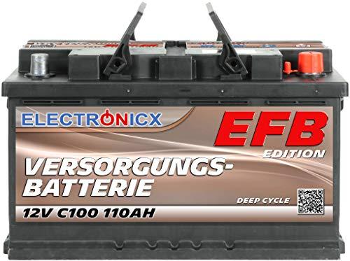 Electronicx EFB - Batería solar (12 V, C100, 110 Ah)
