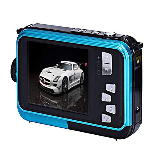 Underwater Camera for snorkeling, Waterproof 2.7K 48MP Digital Camera, HD Rechargeable Camera with Dual Screen for Camping, Underwater, Swiming, Best Selfie Photos Blue Shoot Camera