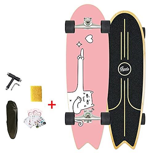 VOMI Land Surfskate Skateboard, CX4 Truck Skiën Snowboarding Training Tool, Carving Pumping Skate, 7 Pisos Tabla Completa De Arce 76Cm * 23Cm Fishtail Deck, Surf Longboard Cruiser Boards ABEC-11