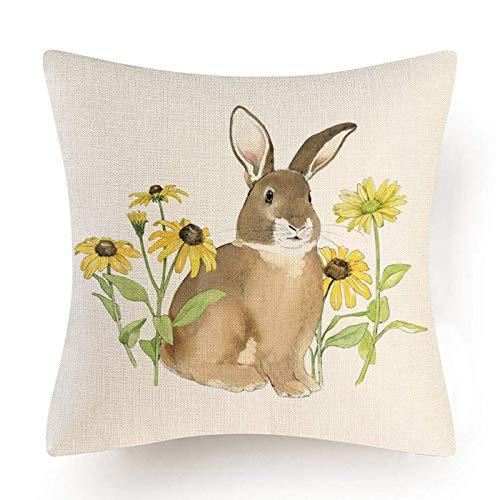 Conejo Día de Pascua Funda de Almohada Sofá Funda de cojín Primavera Serie de Pascua Almohadas Protector Bunny Throw Funda de Almohada para la decoración del hogar