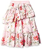 GUESS Girls' Big Floral Print Chiffon Long Skirt, Pink and Red Flowers, 10