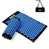 ENJIFE Acupressure Mat Pillow Lotus Massage Cushion Set Full Body Nails Sleep Mats for Back, Legs, Neck, Sciatica, Trigger Point Therapy, Pain and Stress Relief (ACU Black Set-Blue Round)