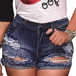 """""""vanberfia Womens High Waist Denim Jean Raw Hem Ripped Shorts with Pockets"""""""