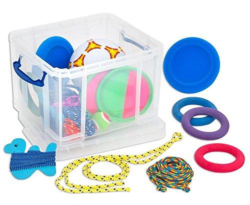 Betzold 100557 - Die bewegte Pausen-Spielbox – Fußball, Springseil und mehr, Spielkiste, Sport