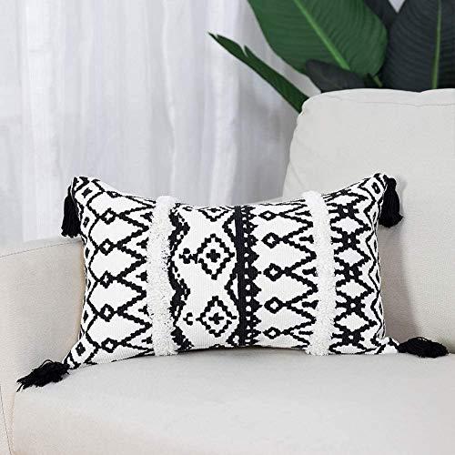 hi-home 1 funda de cojín decorativa bohemia, de algodón, con borla, para sofá, dormitorio, salón, coche, 30 x 50 cm (negro y blanco)