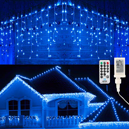 Brizled Blue Icicle Lights, 29ft 360 LED Icicle String Lights, 8 Modes Curtain Fairy Lights with 60 Drops, Clear Icicle Twinkle Lights with Remote for Indoor Outdoor Christmas Wedding Holiday Decor