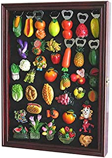 Refrigerator/Souvenir/Sports Magnets Display Case Wall Shadow Box Cabinet (Cherry Finish)