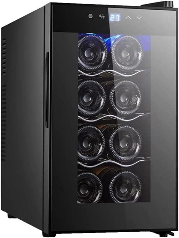 Gabinete De Vino Electrónico De Termostato Pequeño, Refrigerador De Vino Con Puerta De Vidrio (8 Botellas), Bodega De Vino Con Encimera Independiente, 12-18 ° C/LED/Bajo Ruido