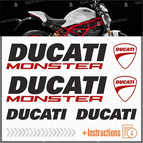 6 Aufkleber-Set, kompatibel mit Motorrad Ducati Monster 696 769 (Schwarz/Rot)