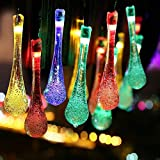Grand patio Solar String Lights, Outdoor Waterproof Fairy Light 13ft 30 LED Waterdrop Lighting for Christmas