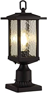 Outdoor Post Lights, Cast Aluminum Post Light Fixture, One-Light Pole Mount Light with Water Glass Panels, Matte Black Finish