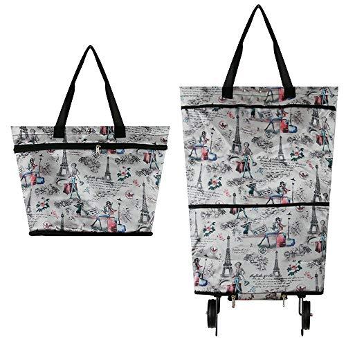 Faltbare Einkaufstasche mit Rollen, wiederverwendbar, strapazierfähig, zusammenklappbar für einfache Lagerung #7747 eifelturm-design