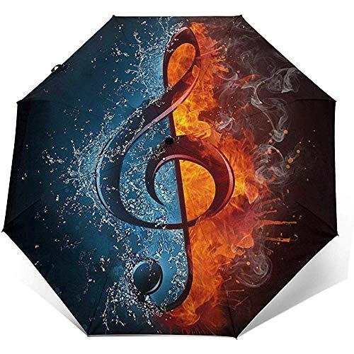 EW-OL-Automatic tri-fold umbrella Musikalische Piano Note Travel Mini Regenschirm Winddicht UV-Taschenschirm 8 Rippen