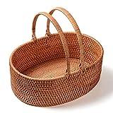WUYUESUN - Feliz Cumpleaños - Rattan Almacenamiento de Alimentos Cesta de Picnic al Aire Libre Que acampa Fruit Basket hogar portátil Carrito (36x26x13cm) Cesta -Picnic