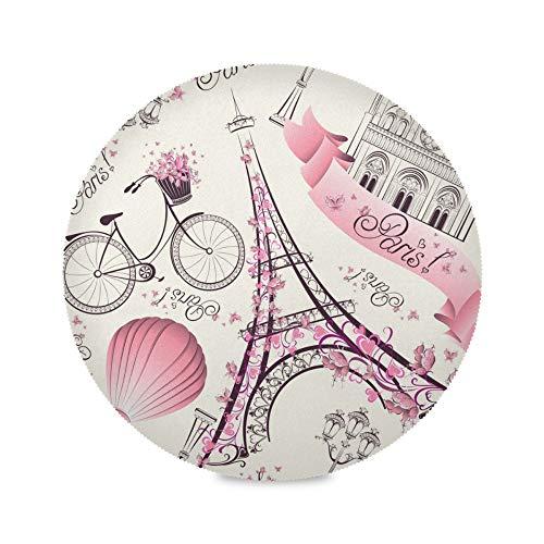 TropicalLife ADMustwin Lot de 4 sets de table ronds antidérapants et lavables Motif Tour Eiffel