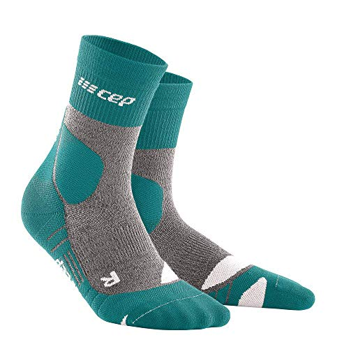 CEP – HIKING MERINO MID CUT SOCKS REDESIGN für Damen | Knöchellange Wandersocken mit Kompression in Forestgreen / Grey | Größe III