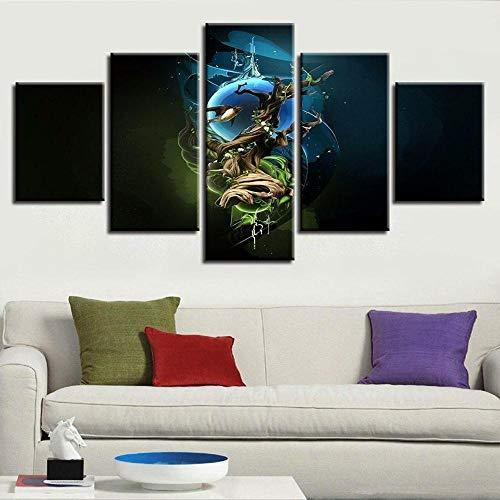 VYQDTNR Decoración del Hogar Lienzo Pintura 5 Piezas HD Imprimir Plano Arte de la Pared Luna de árbol Modular Imagen Sala de Estar Obra de Arte Cartel-200x100Cm.