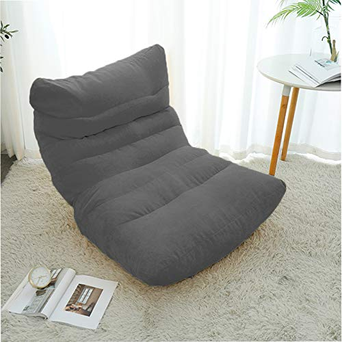 Xin Hai Yuan Lazy Sofa Cover Bean Bag Living Room Tatami Relaxing Chair Couch Cover Lazy Beanbag with Inner Filler,Gray