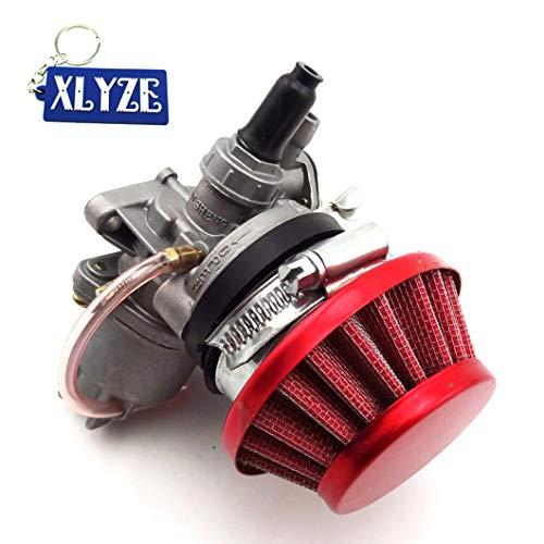 XLYZE, Carb Carby, Set aus 1 x Vergaser, 1 x Luftfilter, 1 x Batterie und 1 x Schlüsselanhänger für 2-Takt-Gefährten, 47 cc / 49 cc, Mini-Motorrad, ATV Dirt, Pocket Bike