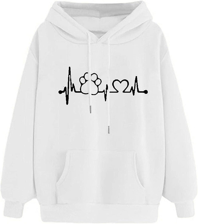Aniwood Sweatshirts for Women, Womens Long Sleeve Dog Paw Print Hooded Sweatshirts Teen Girls Casual Loose Tops Shirts