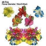 PietyDeko 96 Stück Tropische Palmblätter und Hawaiian Blumen für Dekorationen - 4