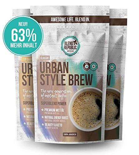 Urban Style Brew - 3er Trial Mix (1x Classic, 1x Vanilla, 1x Caramel) - Instant Kaffee Arabica mit ⍟ MCT-Öl, Kollagen & Inulin - Kollagen Drink - Bulletproof - KetoUp - Keto Kaffee