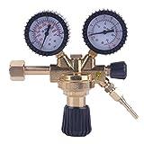 Dalkey123 Regulador Gas, Reductor Presión Dióxido Carbono Universal, Reductor Presión Latón, Adecuado para Gas Ordinario Argón y CO² y Otros Gases Inertes