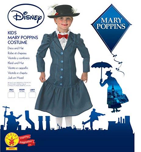 Rubie's - Disfraz oficial de los años 60 de Mary Poppins + sombrero, para niñas de los años 60 de Disney, multicolor…