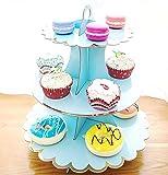CiMi Support à Cupcake Réutilisable Stand de Gâteaux Muffin Support avec 3 Etagères Présentoir à Gâteaux 3 étages Carton pour Fête Anniversaire