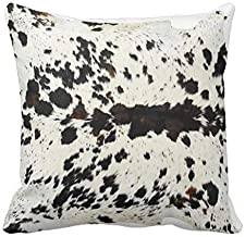 GOOESING Black and White Faux Cowhide Print Pillowcase