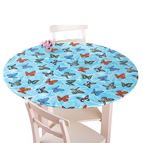 Collections Etc. Patterned Fitted Table Cover with Soft Flannel Backing and Durable Wipe-Clean Vinyl Construction, Butterflies, Oval
