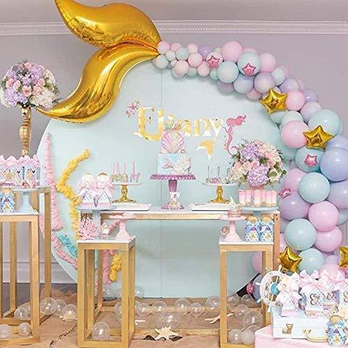 Rrut Mermaid Balloons Garland Kit, 42pcs Mermaid Backdrop, Mermaid Tail Balloons, Mermaid Stickers for Mermaid Theme Birthday Party Supplies Under The Sea Party Decorations