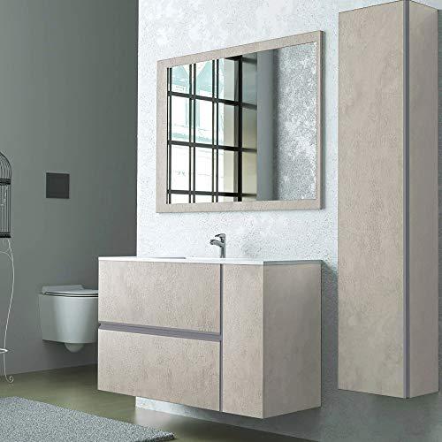 Mobile Bagno sospeso 90 cm, Beige Effetto Pietra, Completo di lavabo in Ceramica e Specchio