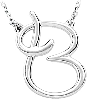 Black Bow Jewelry Sterling Silver, Olivia Collection, Medium Script Initial B Necklace