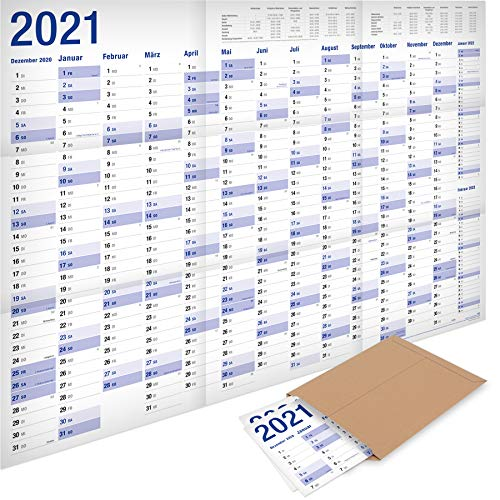 2er-Pack: Yohmoe®-Papier XXL Jahresplaner 2021 Wandkalender (100 x 70 cm) GEFALZT in Poster Größe. Querformat, gefaltet - Wandplaner, Jahreskalender, Plakatkalender, Kalender Groß. 2 Stück