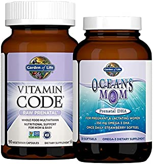 Garden of Life Prenatal Multi + DHA Bundle: Vitamin Code Raw Prenatal Multivitamin with Folate, 90 Vegetarian Capsules Plu...