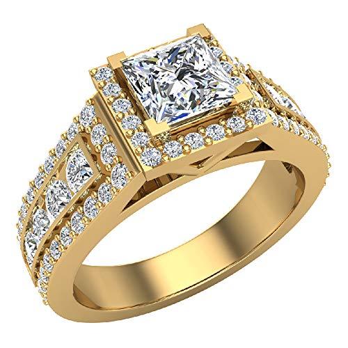 Glitz Design Mujer Niños Hombre Unisex 750 Gold oro amarillo 18 quilates (750) talla princesa Round Brilliant G-H Diamond