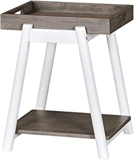 MUSEHOMEINC New York Mid-Century Rustic Wood End Table with Removable Tray Top for Living Room or Bedroom/Side Table/Nightstand
