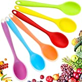 6 Piezas Cucharas Pequeñas de Silicona Multicolores Cuchara de Cocina Antiadherente Cuchara de...