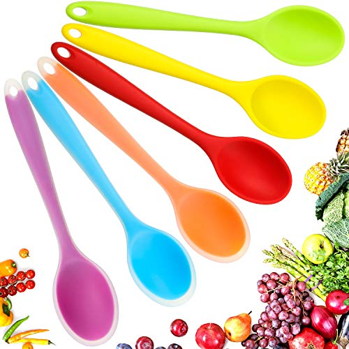 6 Pieces Small Multicolored Silicone Spoons Nonstick Kitchen Spoon Silicone Serving Spoon Stirring Spoon for Kitchen Cooking Baking Stirring Mixing Tools (Red, Green, Yellow, Purple, Orange, Blue)