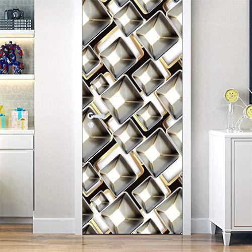 DFKJ Pegatina de Puerta geométrica Negra, póster Autoadhesivo extraíble, Papel Tapiz Espacial Tridimensional, Pegatina de diseño para el hogar A8 90x200cm