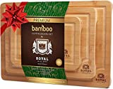 Organic Bamboo Cutting Board with Juice Groove (3-Piece Set) - Best Kitchen Chopping Board for Meat (Butcher...