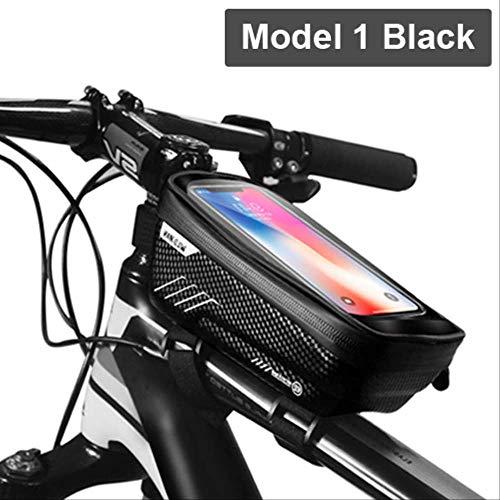 AEWB Bolsa de marco de la bicicleta impermeable bolsa de bicicleta marco frontal tubo superior de la bolsa de ciclismo reflectante 6.5in teléfono caso de la pantalla táctil bolsa mtb accesorios de bicicleta, color Modelo 1 Negro, tamaño About 180 x 105 x 83 mm